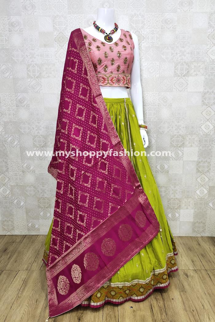 Peach and Green Color Combination Wedding Collection Lehenga Choli With Rani Dupatta