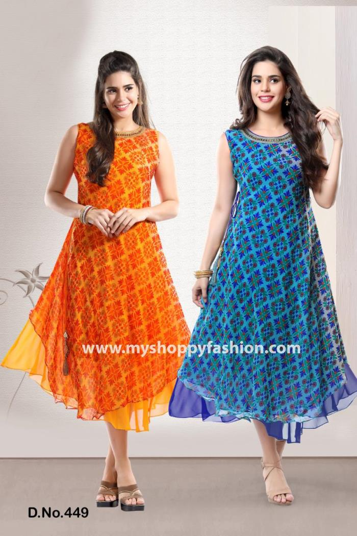 Orange color Party wear Gown Kurti