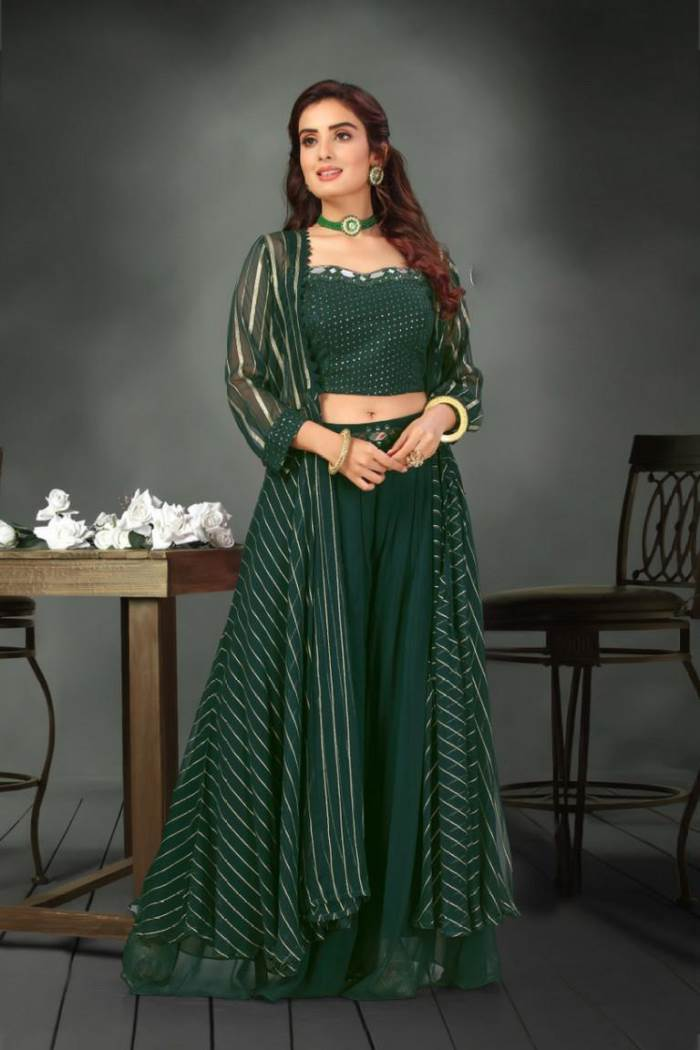 Green Color Party Wear Plazo Suit With Long Koti