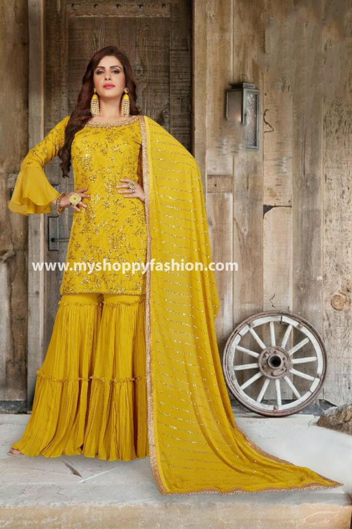 Yellow Color Party Wear Gharara Suit With Dupatta