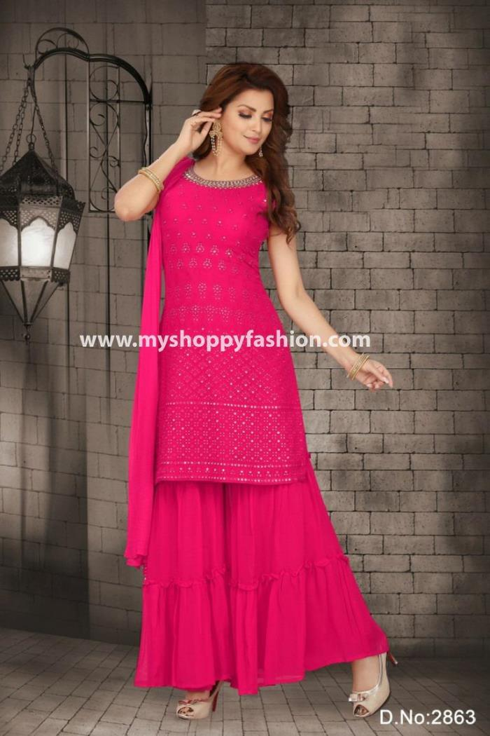 Pink Color party Wear Gharara Suit With Dupatta