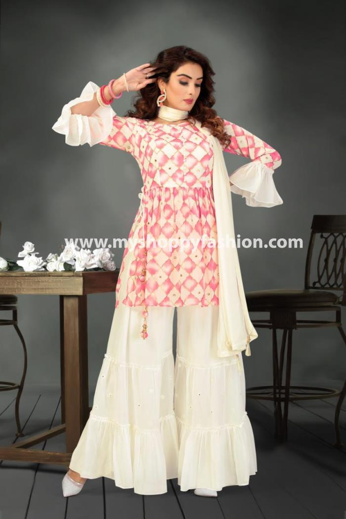 White nad Pink Color Combination Indo- Western Gharara Suit With Dupatta