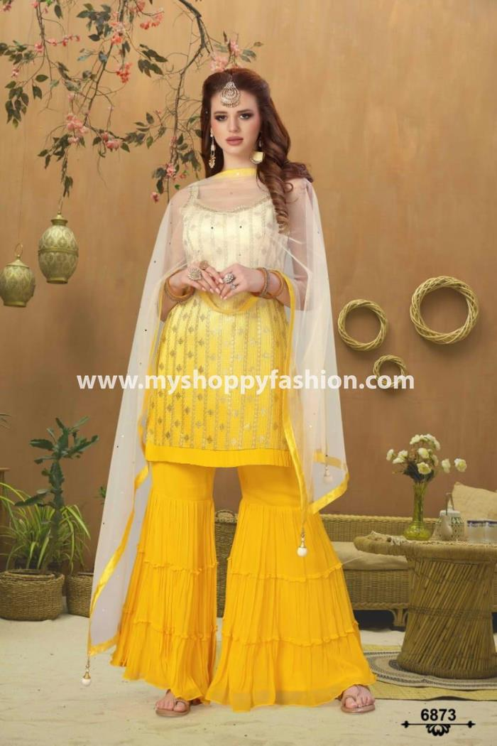 Yellow and White Combination Party Wear Indo Western Gharara Suit