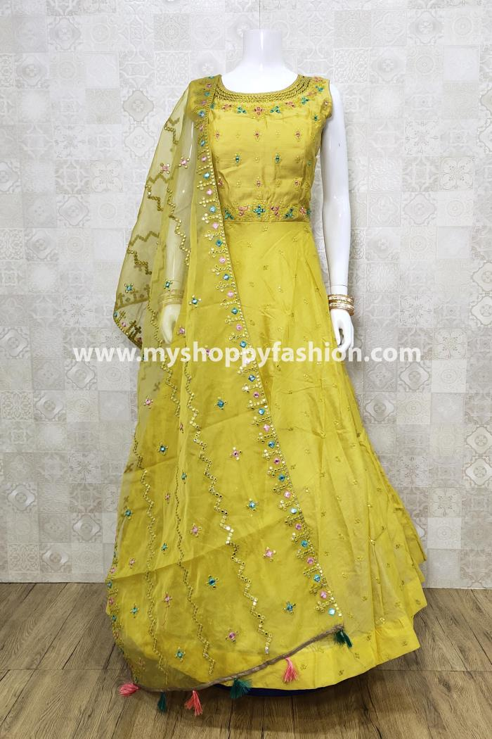 Yellow color Weding Collection Designer Gown