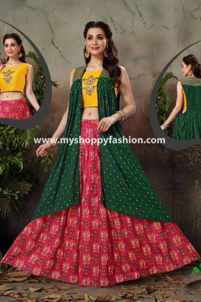 Yellow and Red Combination Party Wear Lehenga Choli With Green Koti