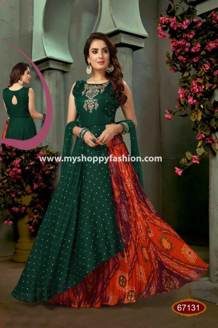 Green and Red color Designer Lehenga choli