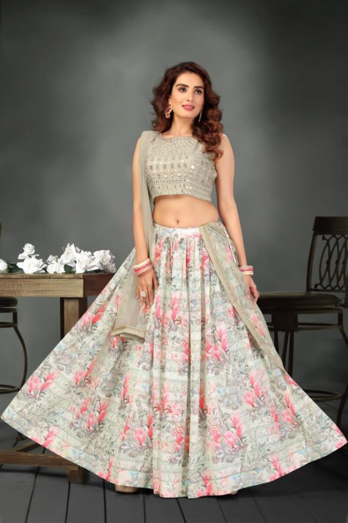 Cream Color Lehenga Choli With Dupatta
