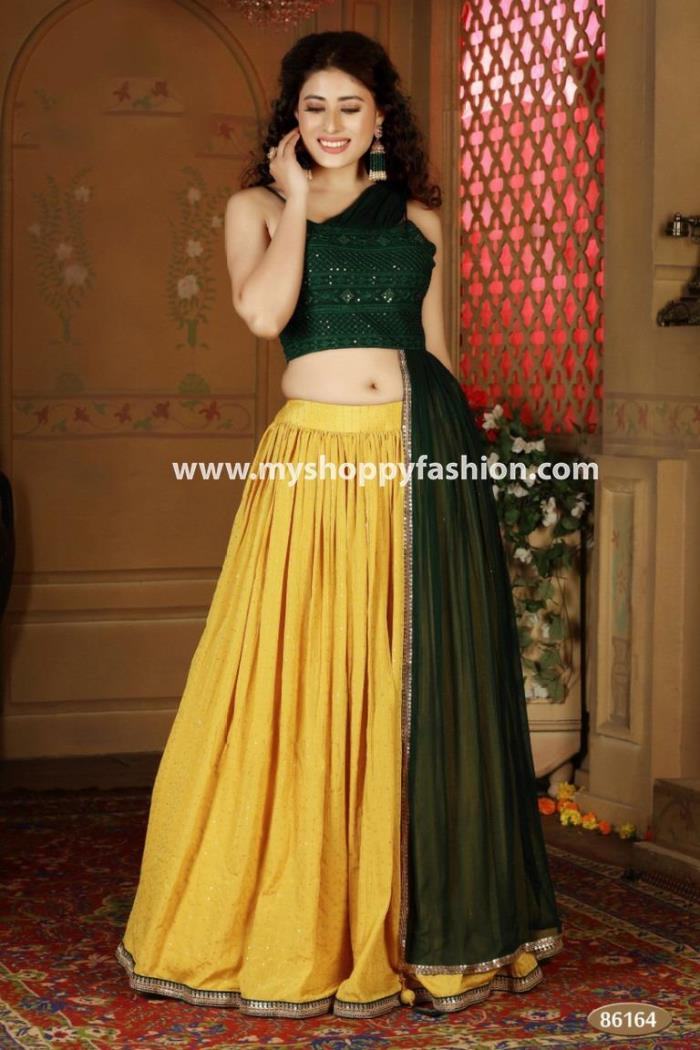 Green and Yellow Color Combination Party Wear Lehenga Choli