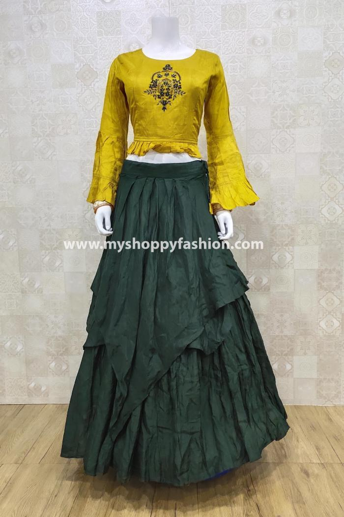Mustard and Green Color Combination Party Wear Lehenga Choli