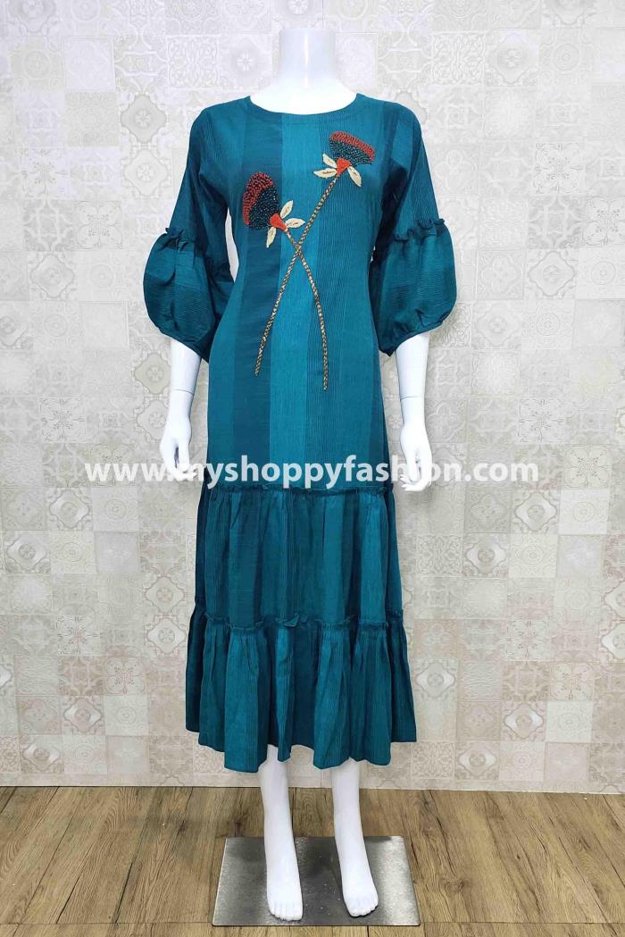 Firozi Color Party Wear Gown Kurti
