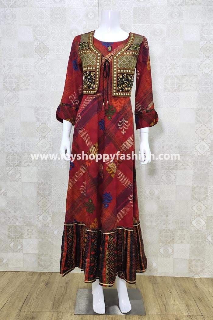 Red Color Party Wear Gown Kurti With Koti