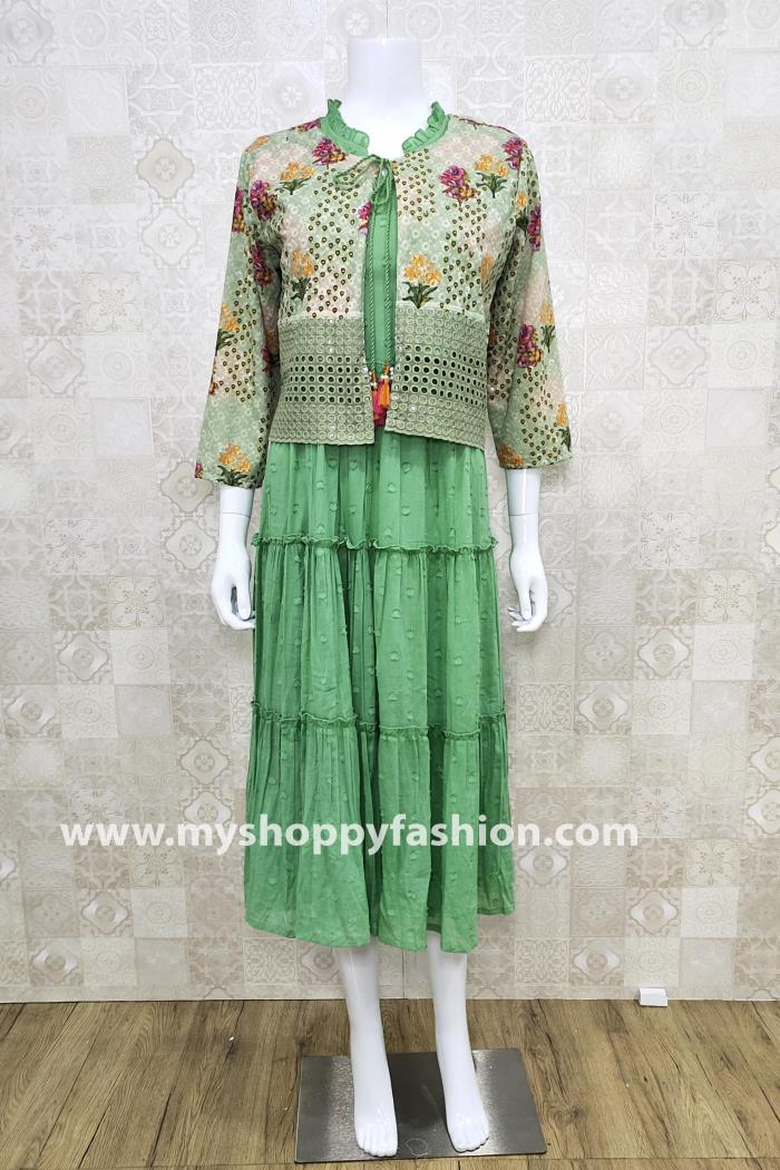 Pista Color Party Wear Gown Kurti With Designer Koti