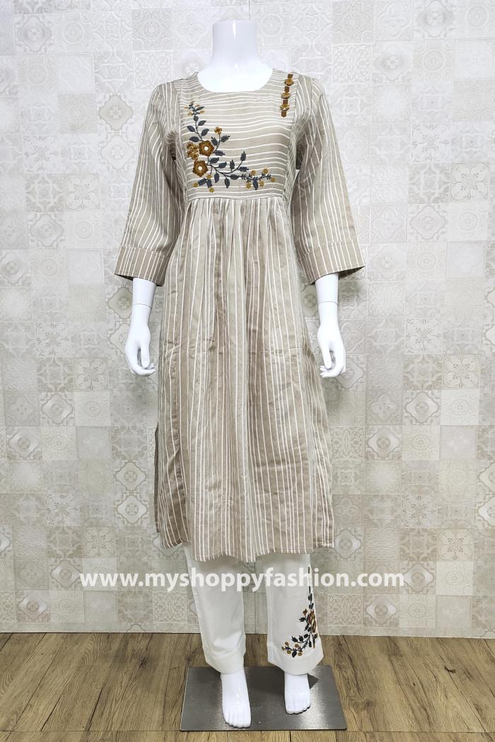 Cream and White Color Combination Pent Style Kurti Set