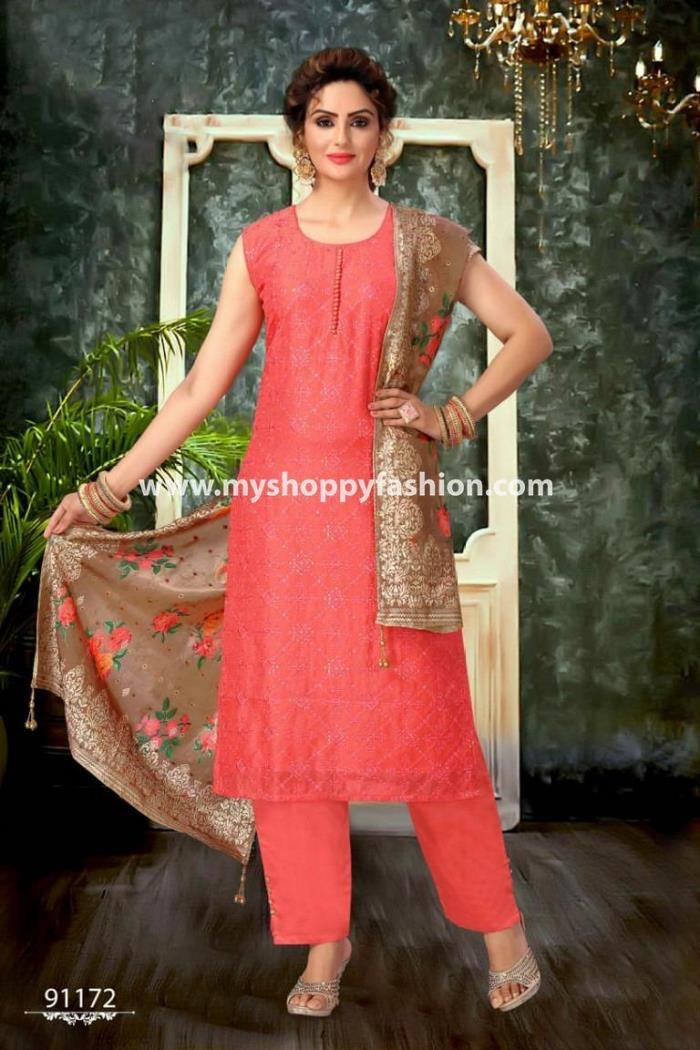 Pink Color Party Wera Straight Long Suit With Dupatta