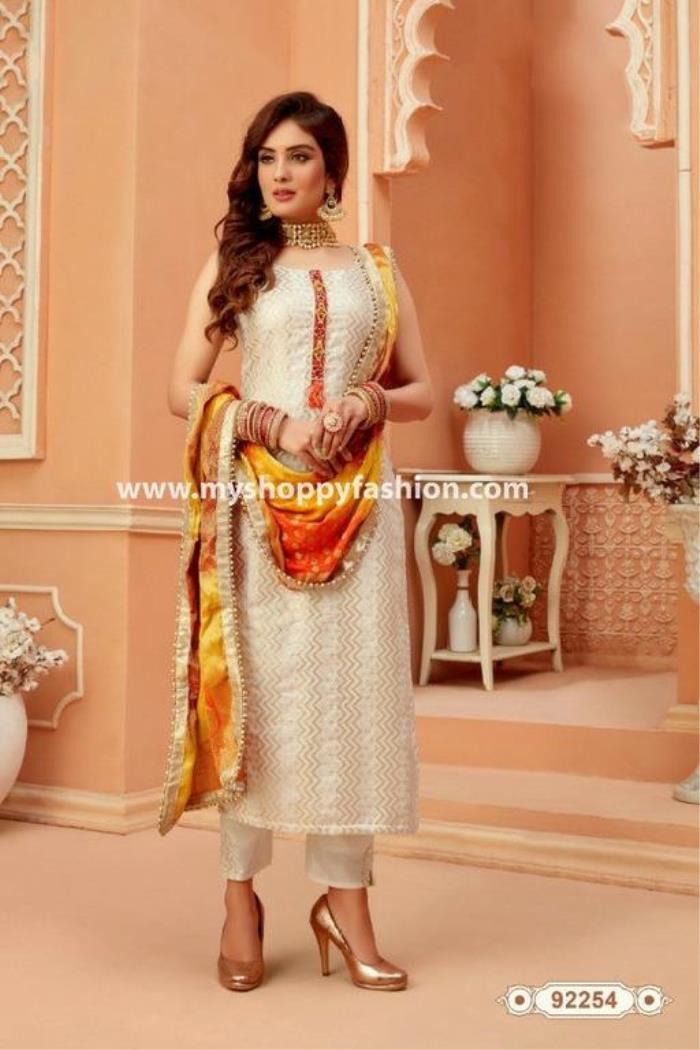 Cream Color Party Wear Pent Style Straight Long Suit with Dupatta