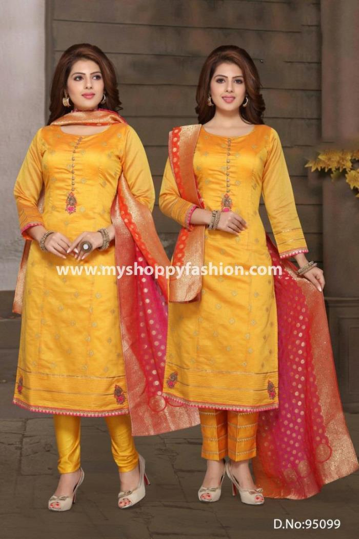 Mustard Color Party Wear Straight Long Suit With Two Pent