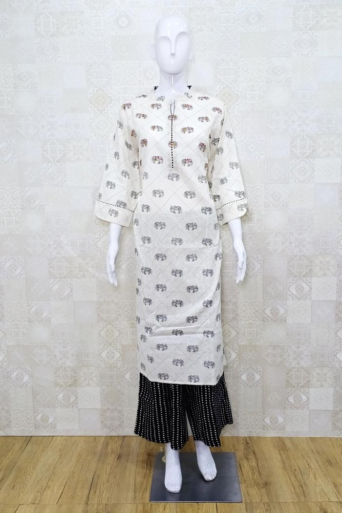 White Color Casual Wear Gharara Style Kurti Set