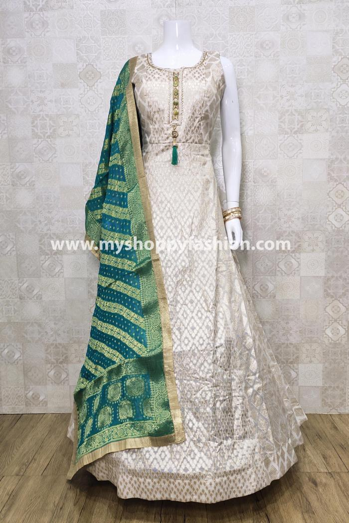 White color Designer Gown with Green Dupatta