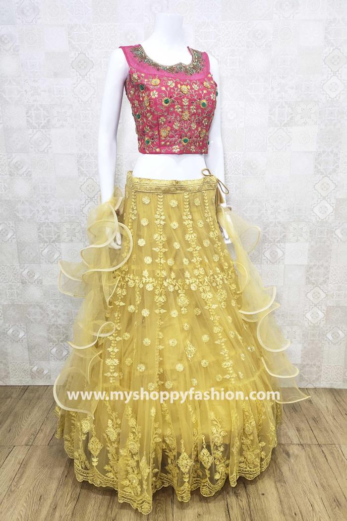 Pink and Yellow Color Combination Party Wear Lehenga Choli With Dupatta