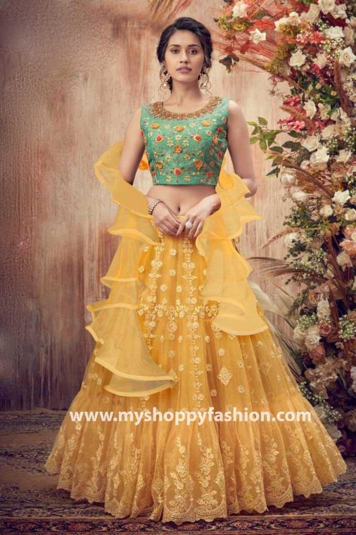 Rama and Yellow Color Combination Party Wear Lehenga Choli With Dupatta