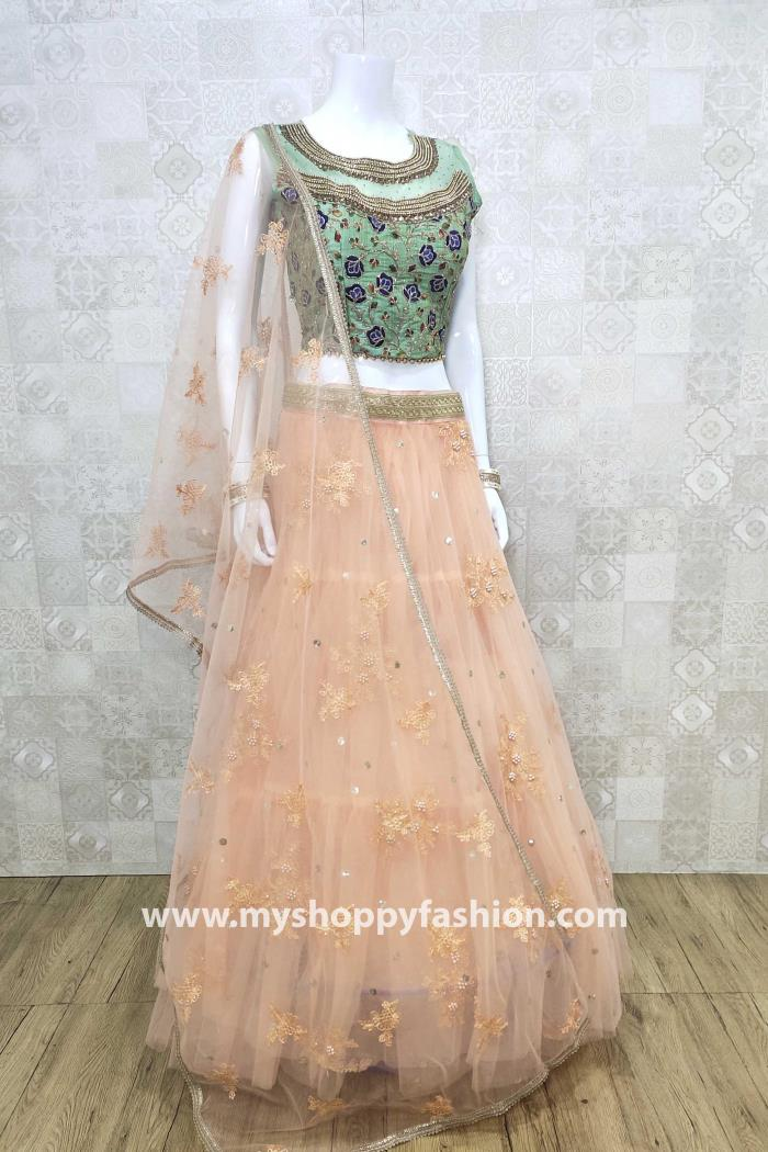 Green and Peach Color Combination Party Wear Lehenga Choli With Dupatta