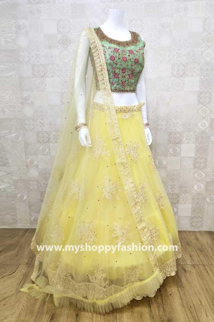 Green and Yellow Color ombination Party Wear Lehenga Choli With Dupatta