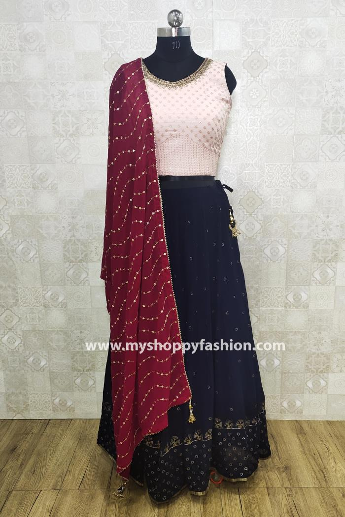 Peach and Blue color wedding collection lehenga choli