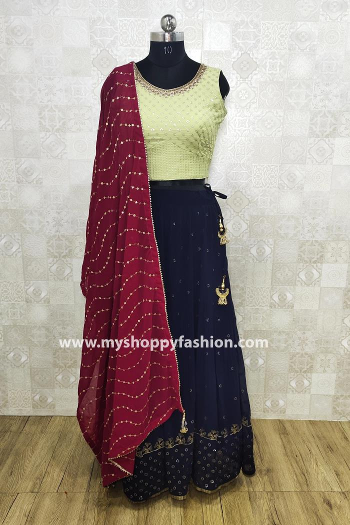 Pista and Blue color wedding collection lehenga choli