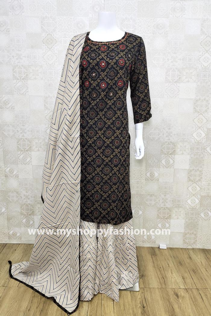 Black and White Color Combination Plazo Style Kurti Set