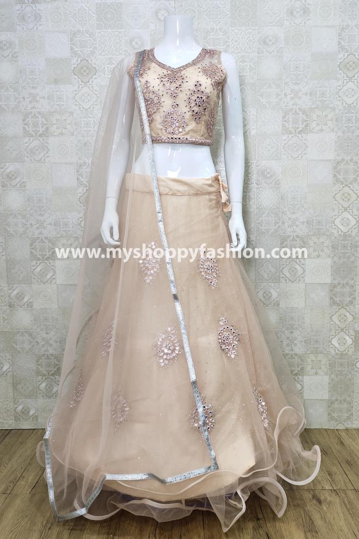 Peach Color Party Wear Lehenga Choli With Dupatta