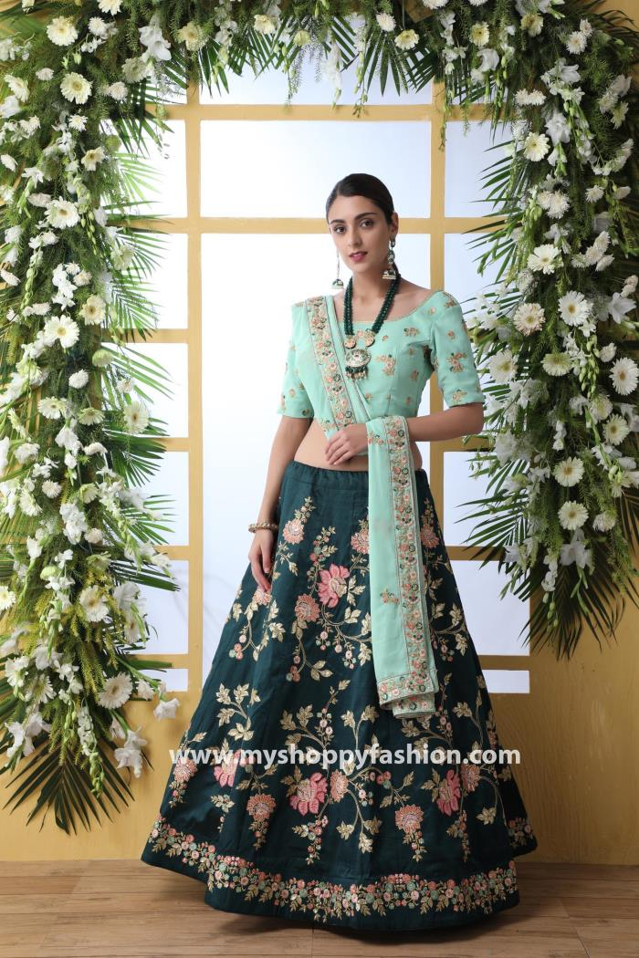 Green Color Wedding Collection Semi-Stitched Lehenga Choli With Dupatta
