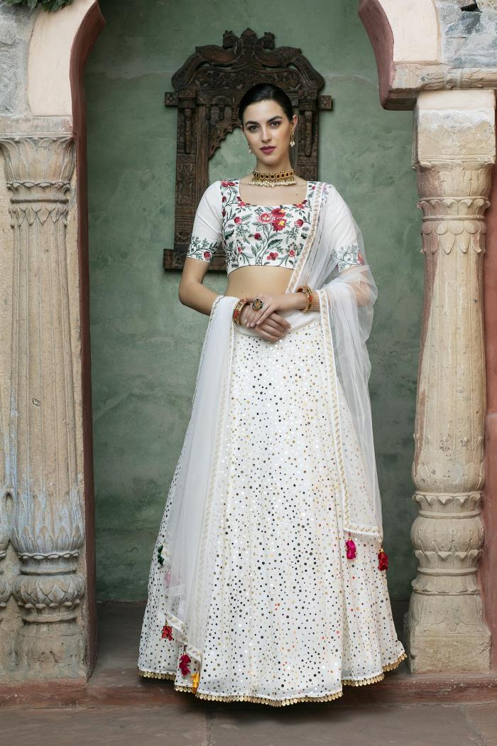 White color Semi-stiched Lehenga Choli