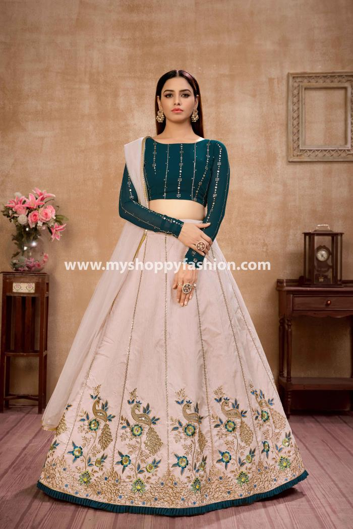 Green and Beige color combination Lehenga Choli