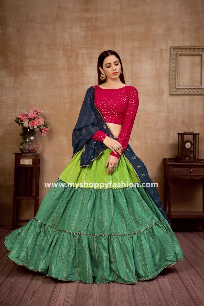 Rani and Green Blue color Lehenga Choli with Navy blue dupatta