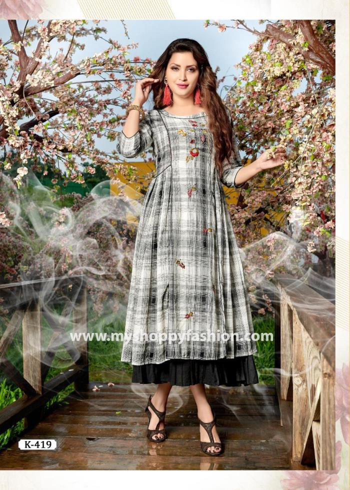 Grey Color Party Wear Gown Kurti