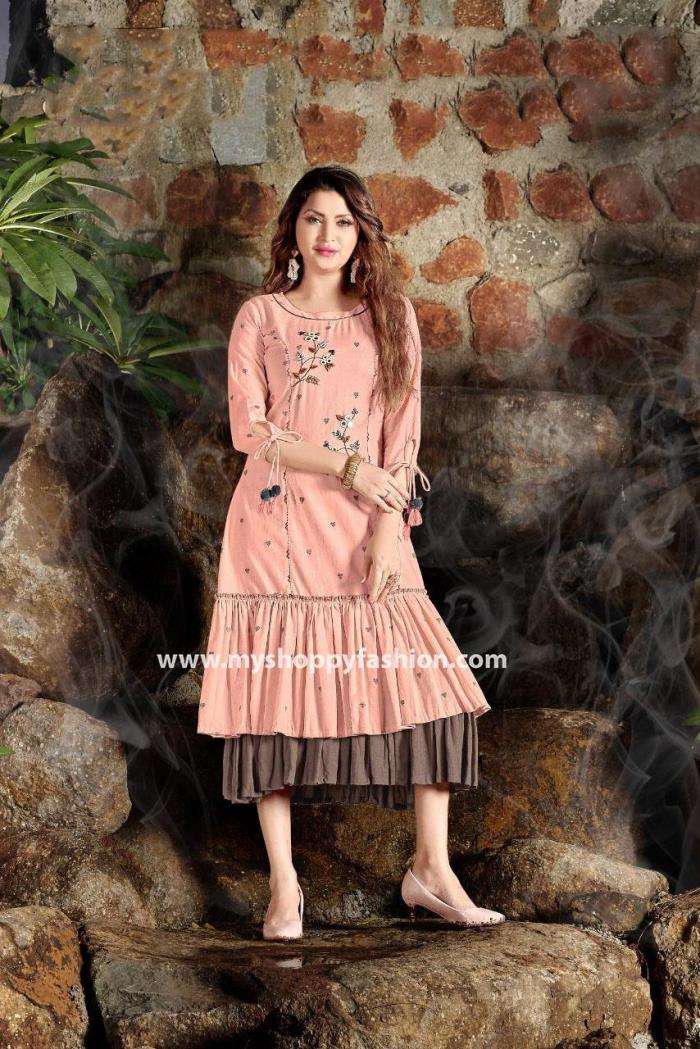 Peach Color Party Wear Gown Kurti