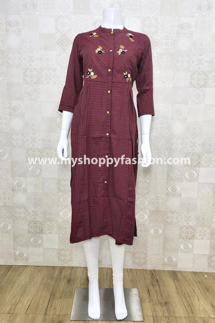 Red Color Casual Wear Gown Kurti