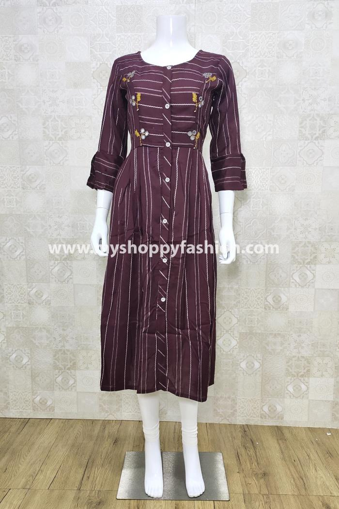 Wine Color Casual Wear Gown Kurti