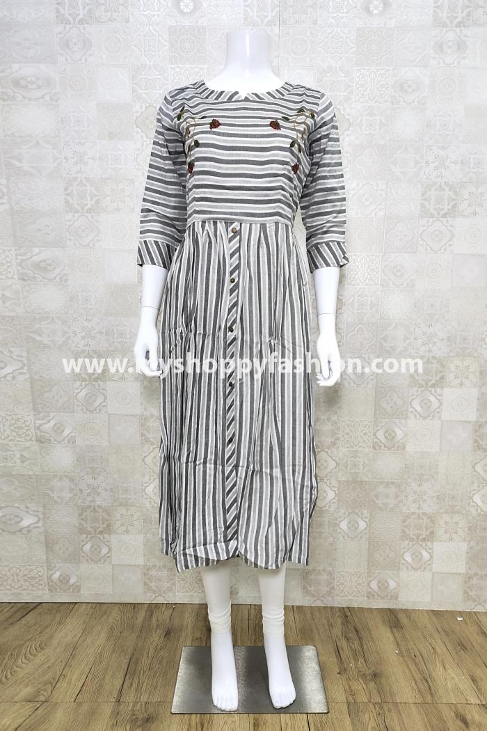 Grey Color Casual Wear Gown Kurti
