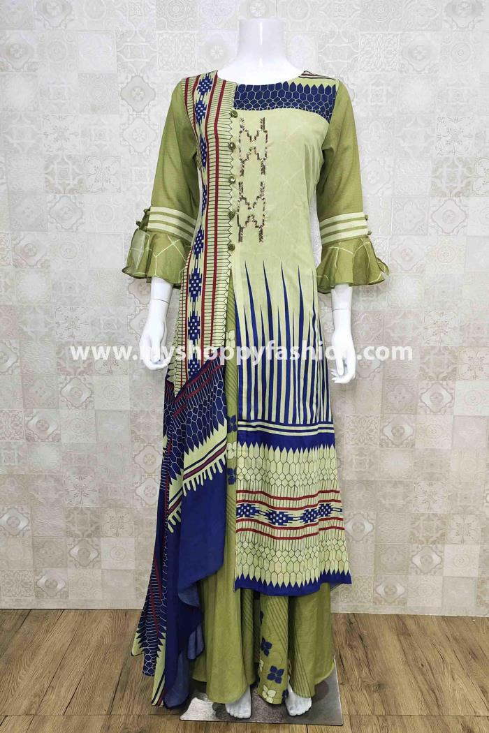 Green Color Party Wear Gown Kurti