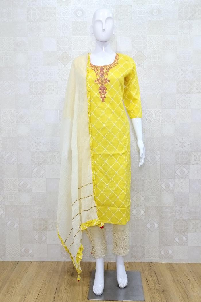 Yellow Color Casual Wear Pent Style Kurti Set With Dupatta