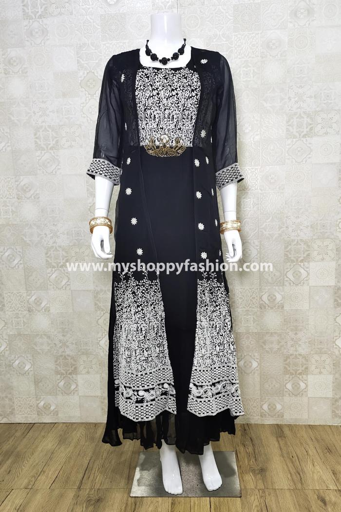 Black Color Party Wear Koti Style Gown Kurti
