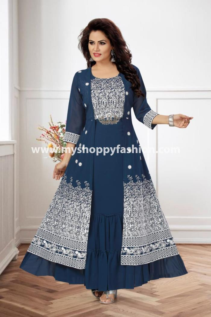 Blue Color Party Wear Koti Style Gown Kurti