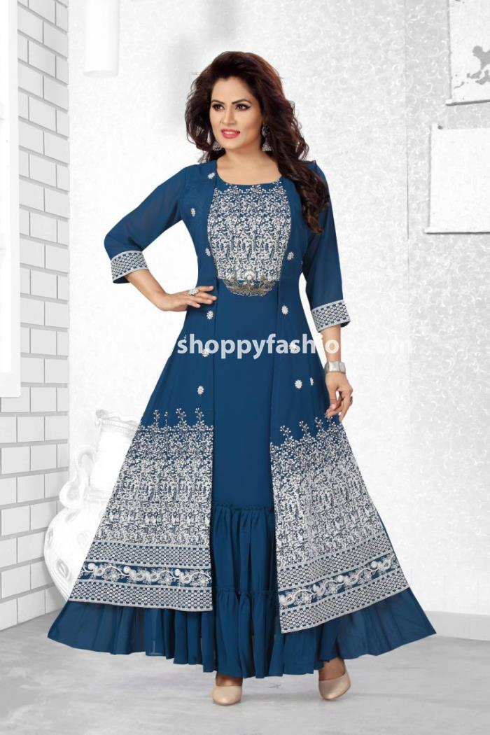 Firozi Color Party Wear Koti Style Gown Kurti