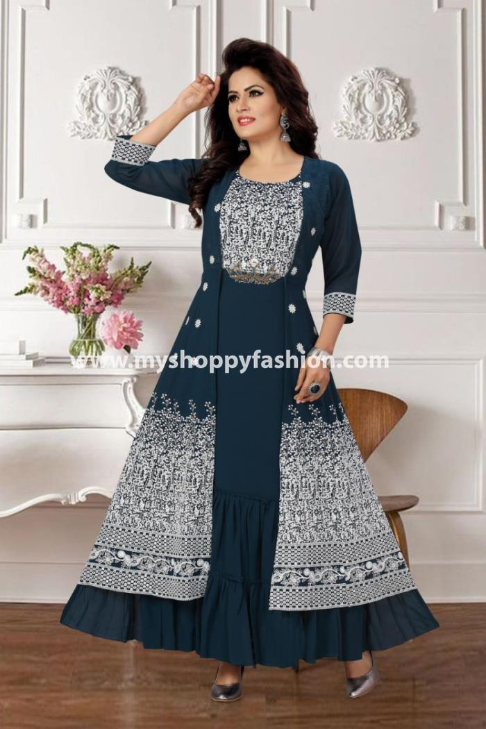 Peacock Blue Color Party Wear Koti Style Gown Kurti