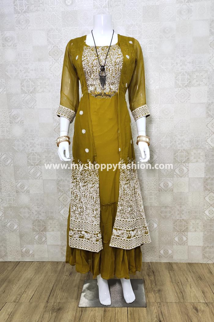 Yellow Color Party Wear Koti Style Gown Kurti