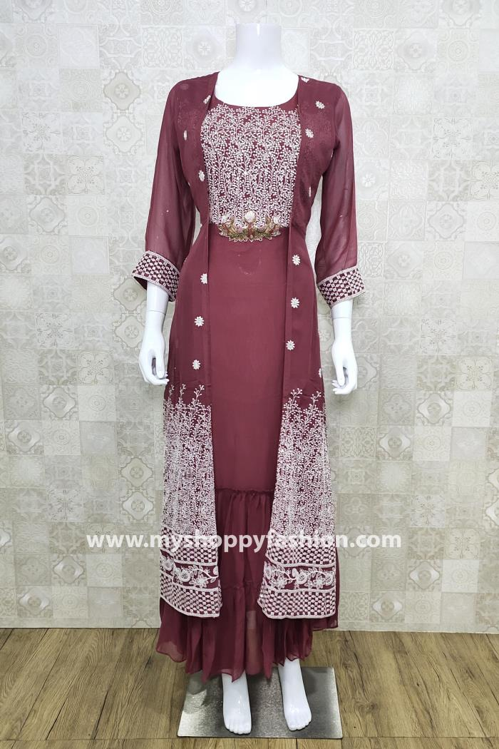 Dusty Pink Color Party Wear Gown Kurti