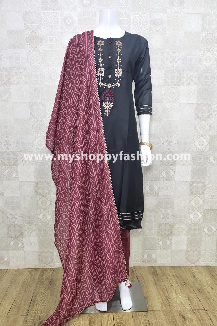 Grey Color Party Wear Kurti Set With Dupatta
