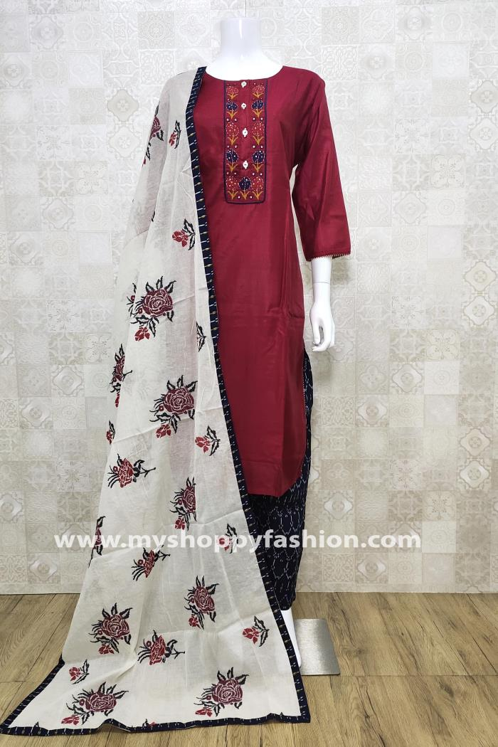 Maroon and Black Color Combination Pent Style Kurti Set