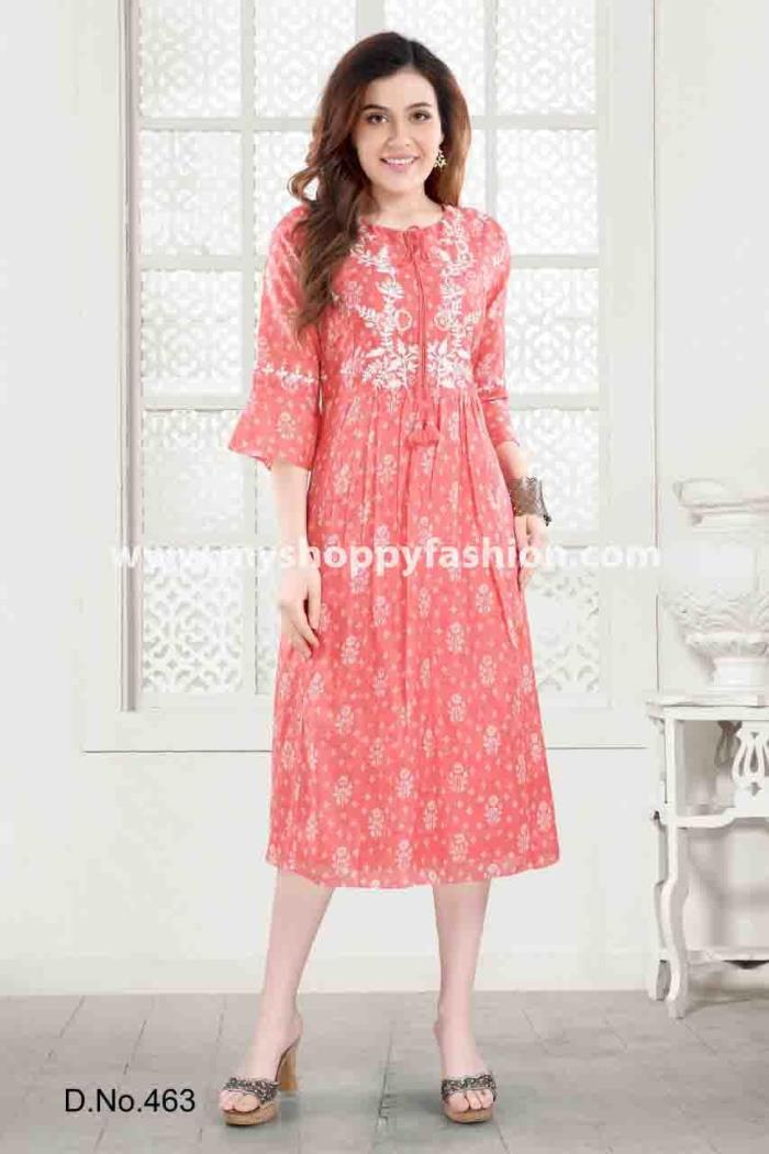 Pink Color Casual Wear Gown Kurti